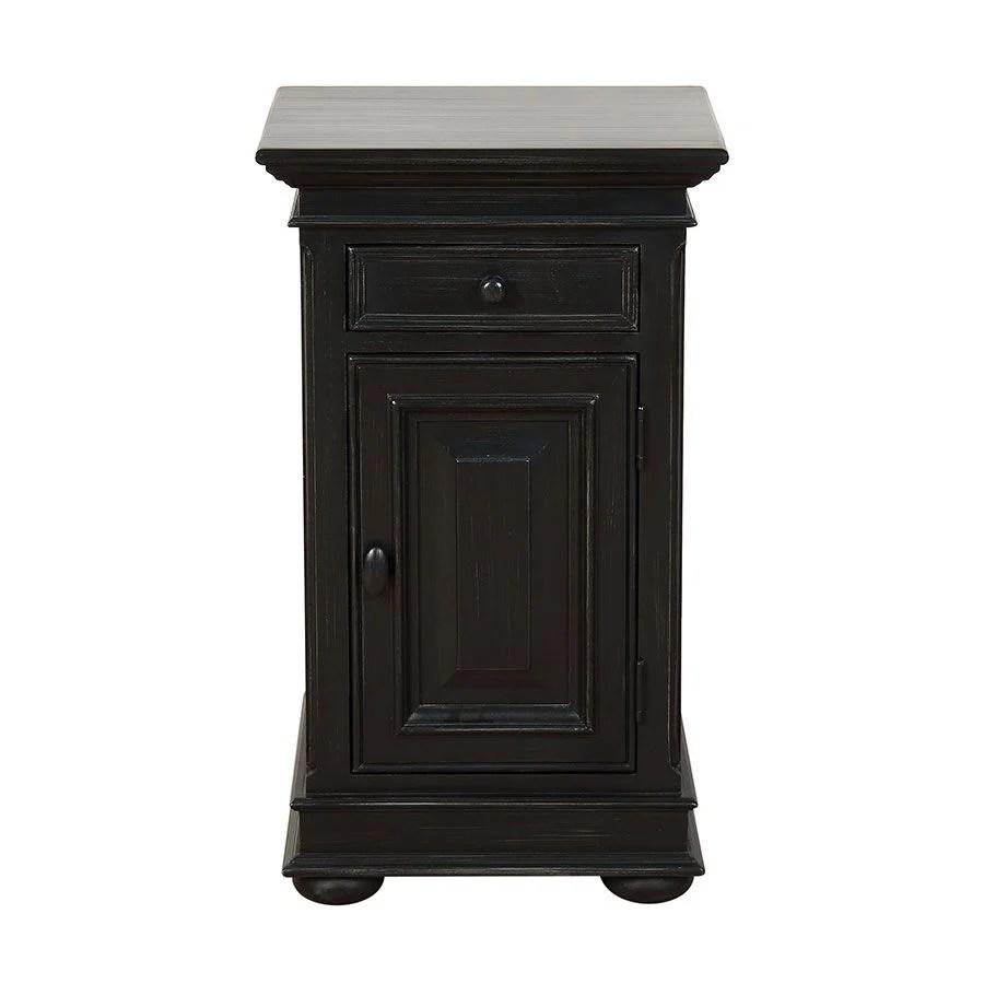table de chevet noire en bois harmonie