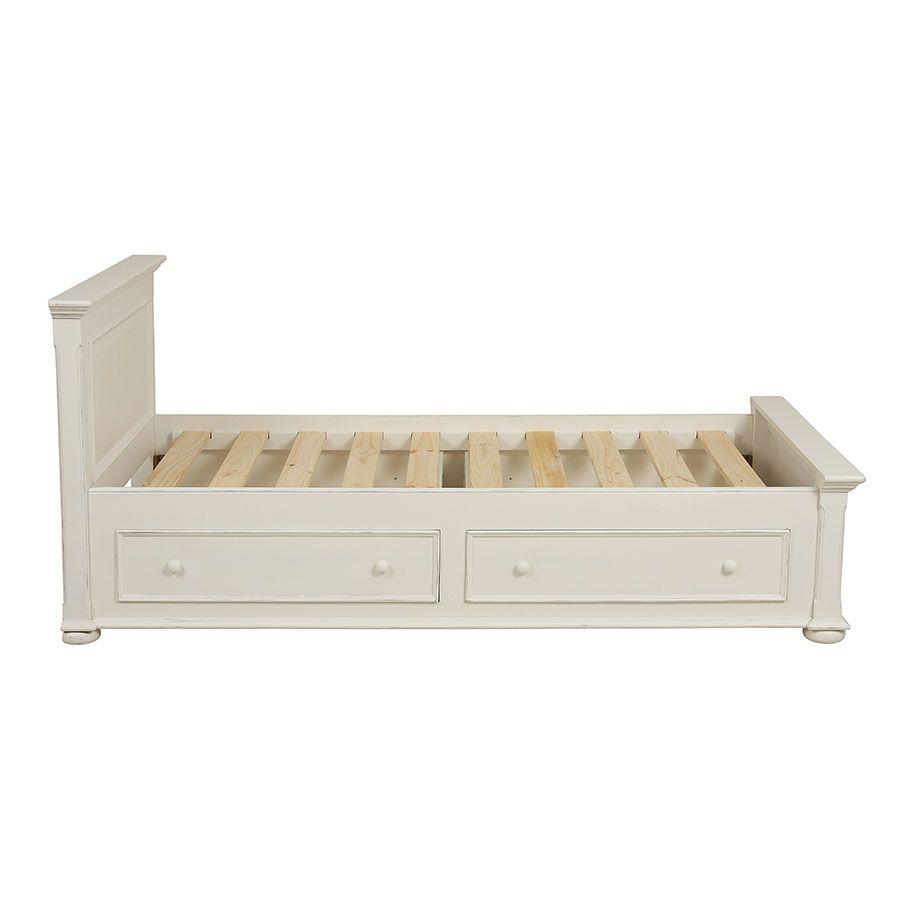 lit enfant 90x190 avec tiroirs en bois blanc satine harmonie