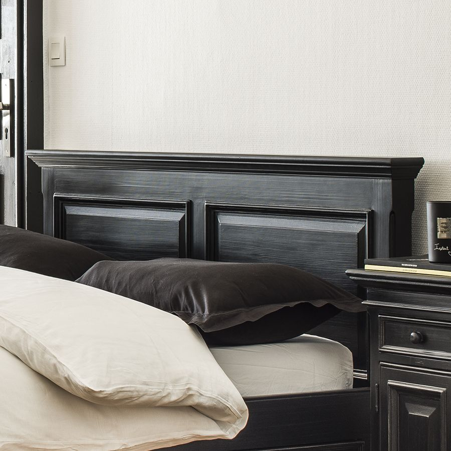 tete de lit 160 noire en bois harmonie