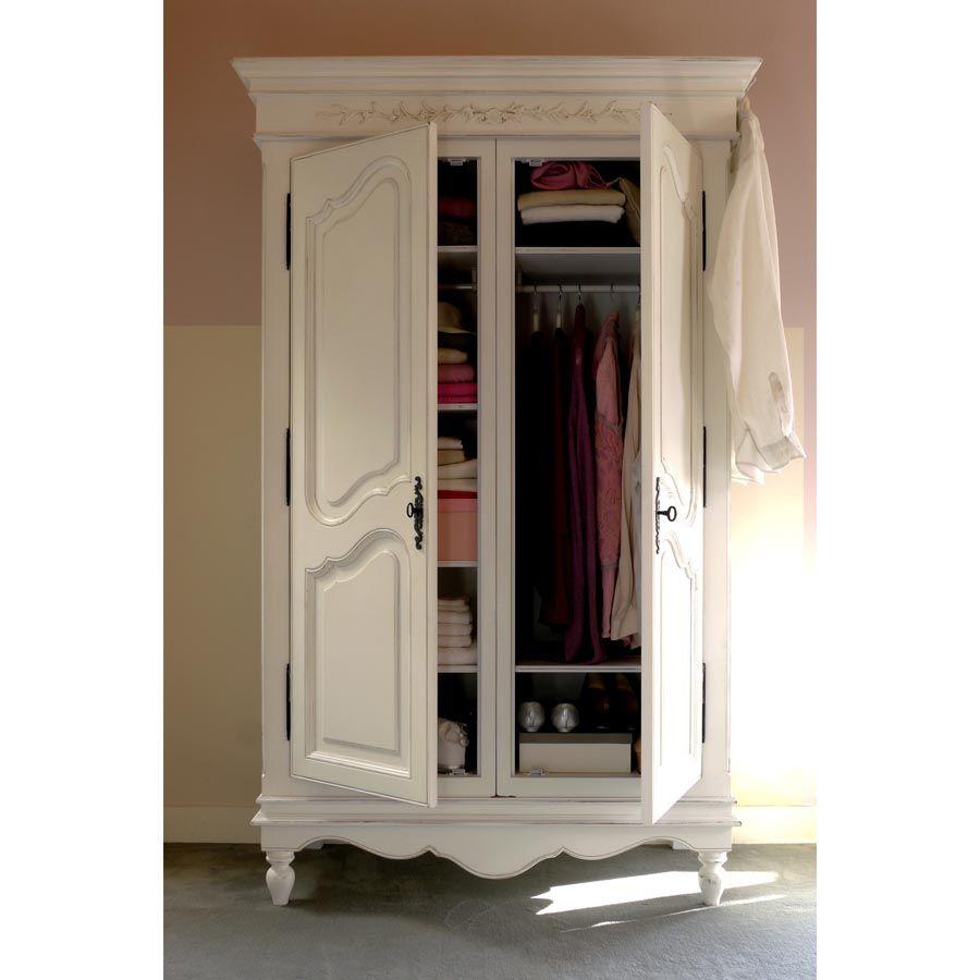 armoire penderie blanche 2 portes en bois romance