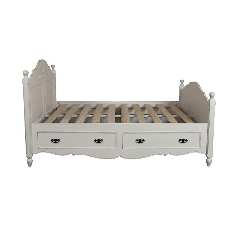 lit 160x200 avec tiroirs en bois blanc vieilli romance