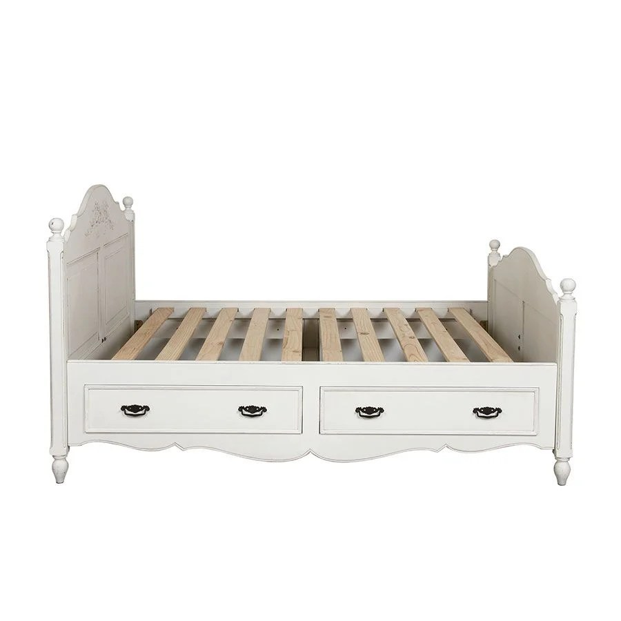 lit 140x190 avec tiroirs en bois blanc vieilli romance
