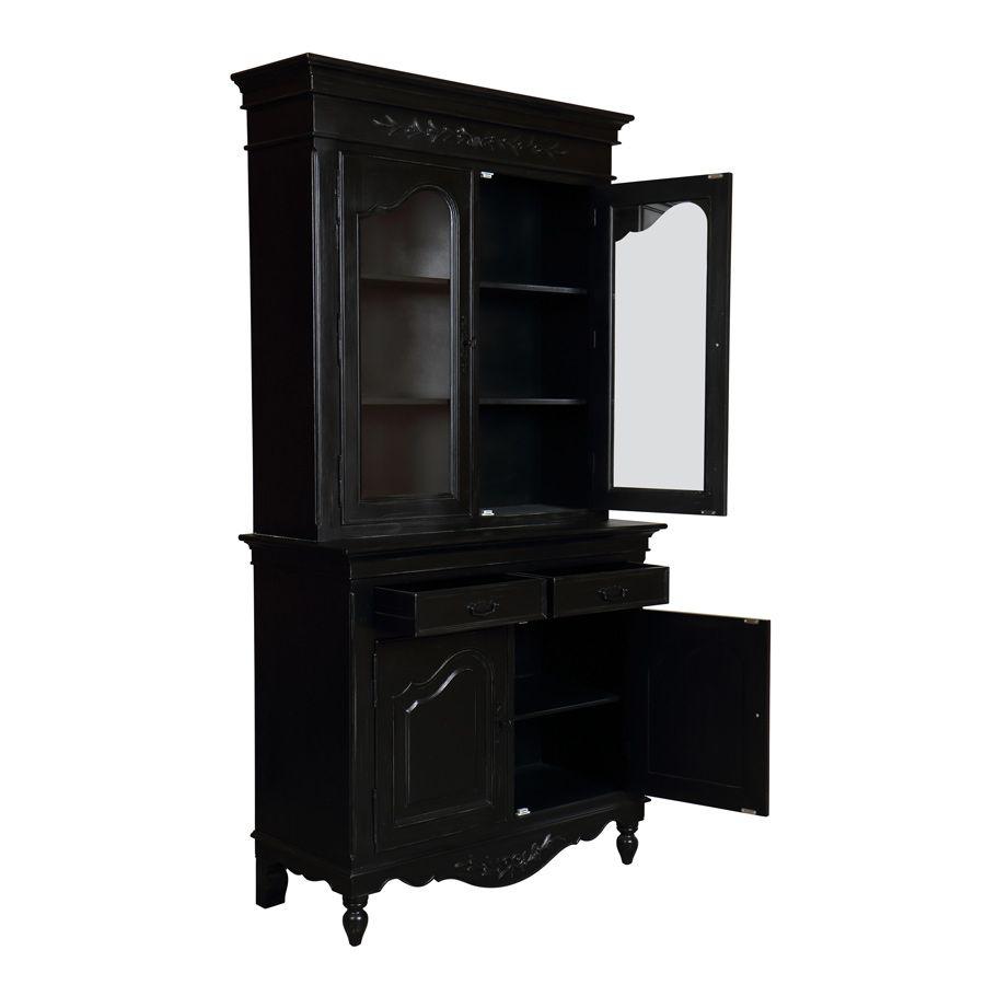 buffet vaisselier noir 2 portes en bois romance