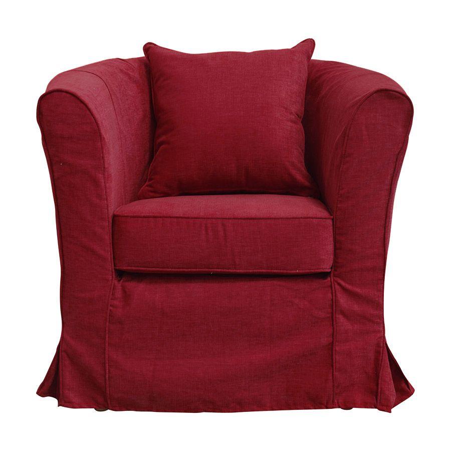 fauteuil cabriolet en tissu rouge fonce bristol