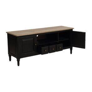 meuble tv baroque noir 2 portes en pin manoir