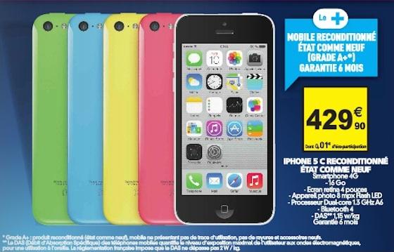 Auchan Propose Des Iphone 5c Reconditionnes A 429 90 Euros Iphoneaddict Fr