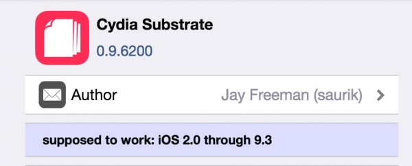 Cydia Substrate Support iOS 9.3.3