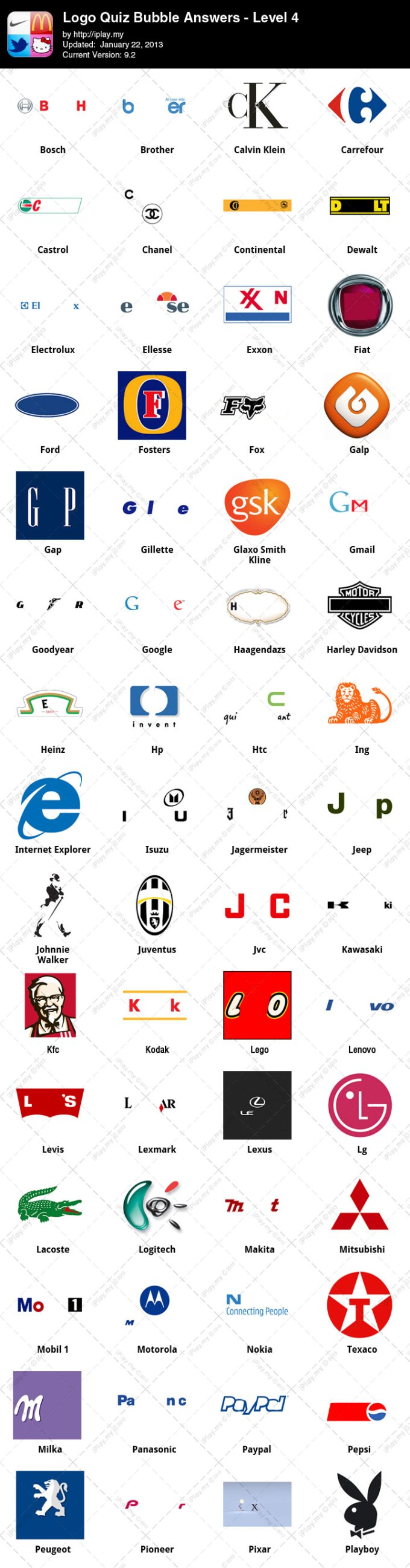Logo quiz by bubble expert mode level 4 answers
