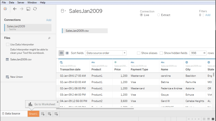 Tableau Data Connection with Text File
