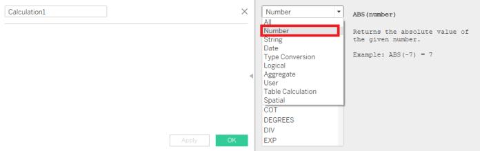 Tableau Numeric Calculations