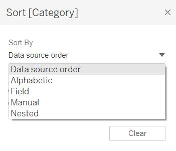Tableau Sort Data