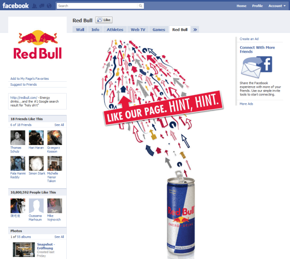 Facebook Page Top 10 Brand and Company Red Bull