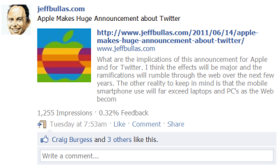 Apple Makes Huge Announcement about Twitter Blog Post Update on Jeffbullas.com Facebook page