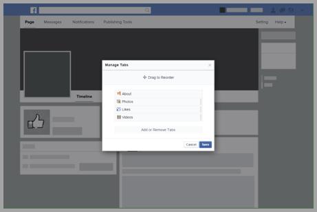 Facebook page design screenshot