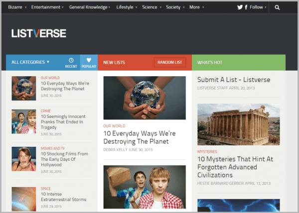 Listverse - sites that will pay you