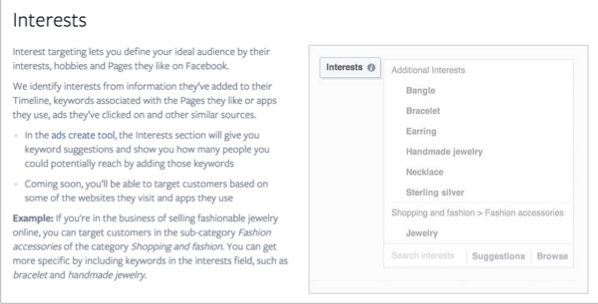 Interests example for how to promote your quizzes on Facebook