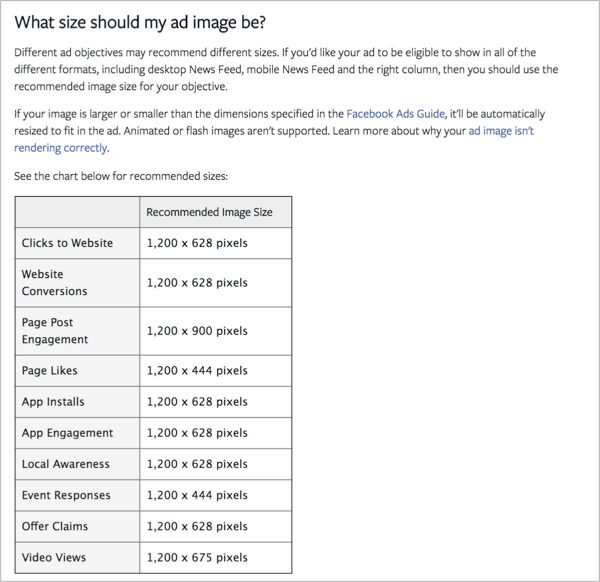 Size of an ad image on facebook for how to promote your quizzes