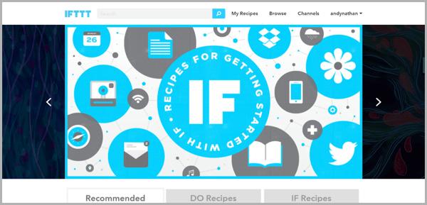 IFTT - example of social media management tools
