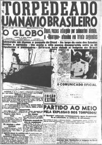 Manchete anunciando o ataque alemão à navio mercante na I Guerra Mundial. (Foto: Google Imagens / O Globo)