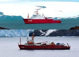 NPo Almirante Maximiano (H-41) acima e NApOc Ary Rongel (H-44) embaixo. (Foto: Montagem/ Google Imagens)