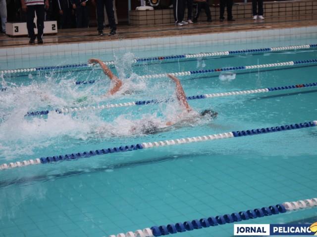 Disputa acirrada no revezamento 4x50m nado livre. (Foto: Al. Helena Ferreira / Jornal Pelicano)