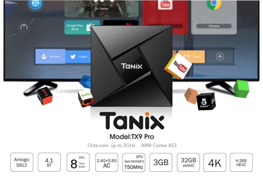 Tanix TX9 Pro TV Box Amlogic S912 Octa-core CPU Android 7.1 OS Bluetooth 4.1 1000M LAN