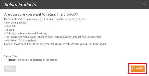 How to Return a Jumia Product confirmation