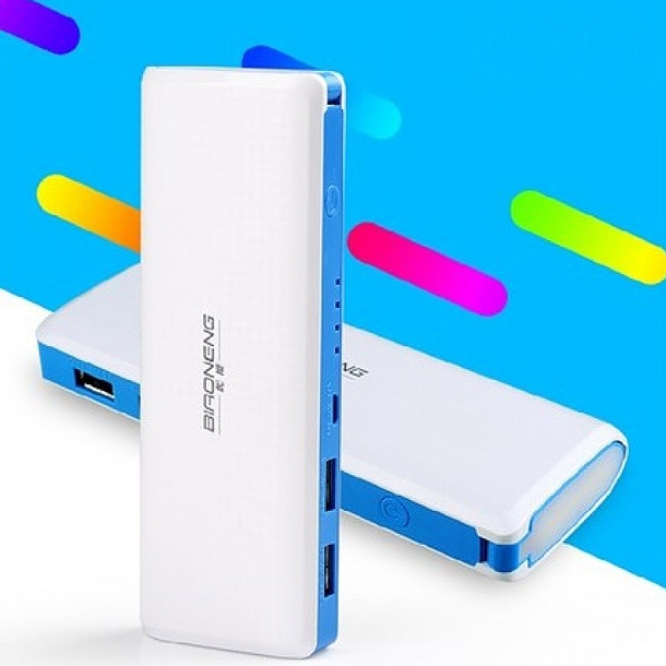 c8ed8d475d971cf1a47b972229cf5af0 Biaoneng 15,000mAh NB 8606 Power Bank With Powerful Touch Light   Blue Edge