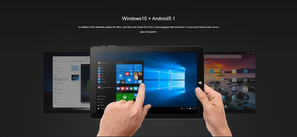 Chuwi 2 In 1 Tablet 10.1 Inch Windows 10 + Android 5.1 Quad Core 4GB RAM 64GB ROM With Keyboard