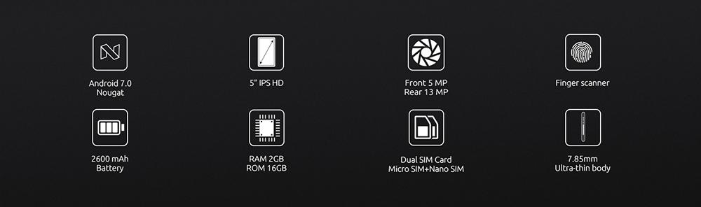 5ddfde2b5a8e8dcc42ddeb045e65f6f7 Cubot R9   5 2600mAh With Case 2GB/16GB Fingerprint Android 7.0 EU   Blue