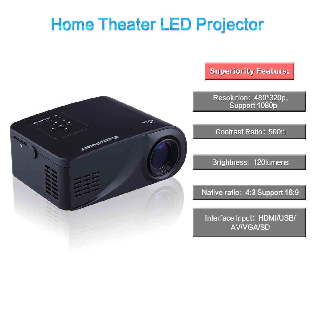 44a8a8bec279328daa76fe8850b97354 Excelvan X6 Mini Projector 480 X 320p HDMI / USB / AV / VGA / SD Interface 2.4 Inch LCD US Plug   Black