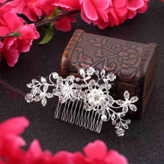 fashion floral wedding tiara bridal hair combs hairpin