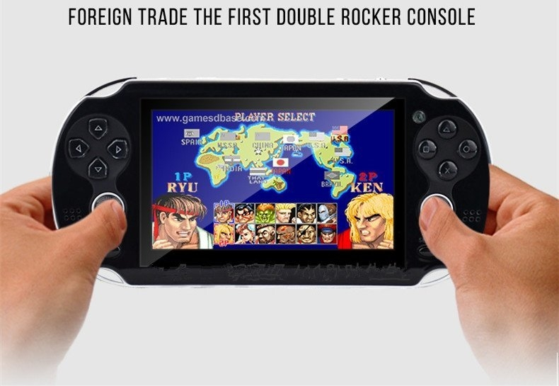 761588fe221d2db6e645f6334a7d8fd1 Generic 4.3 Inch Handheld Game Players Double Rocker Real 8GB Video Game Console Support TV Out Built In Hundred GBA NES SEGA Games(Black)