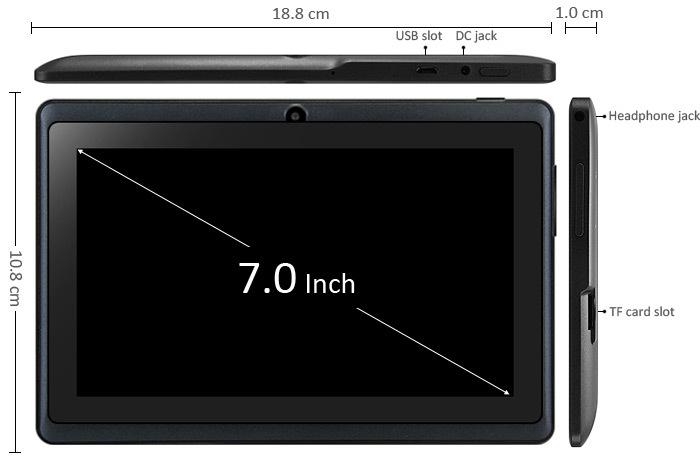 Generic Tablet PC 7 Inch Q88H A33 Quad Core 1.2GHz 512MB RAM 8GB ROM Dual Cameras BLACK price in nigeria