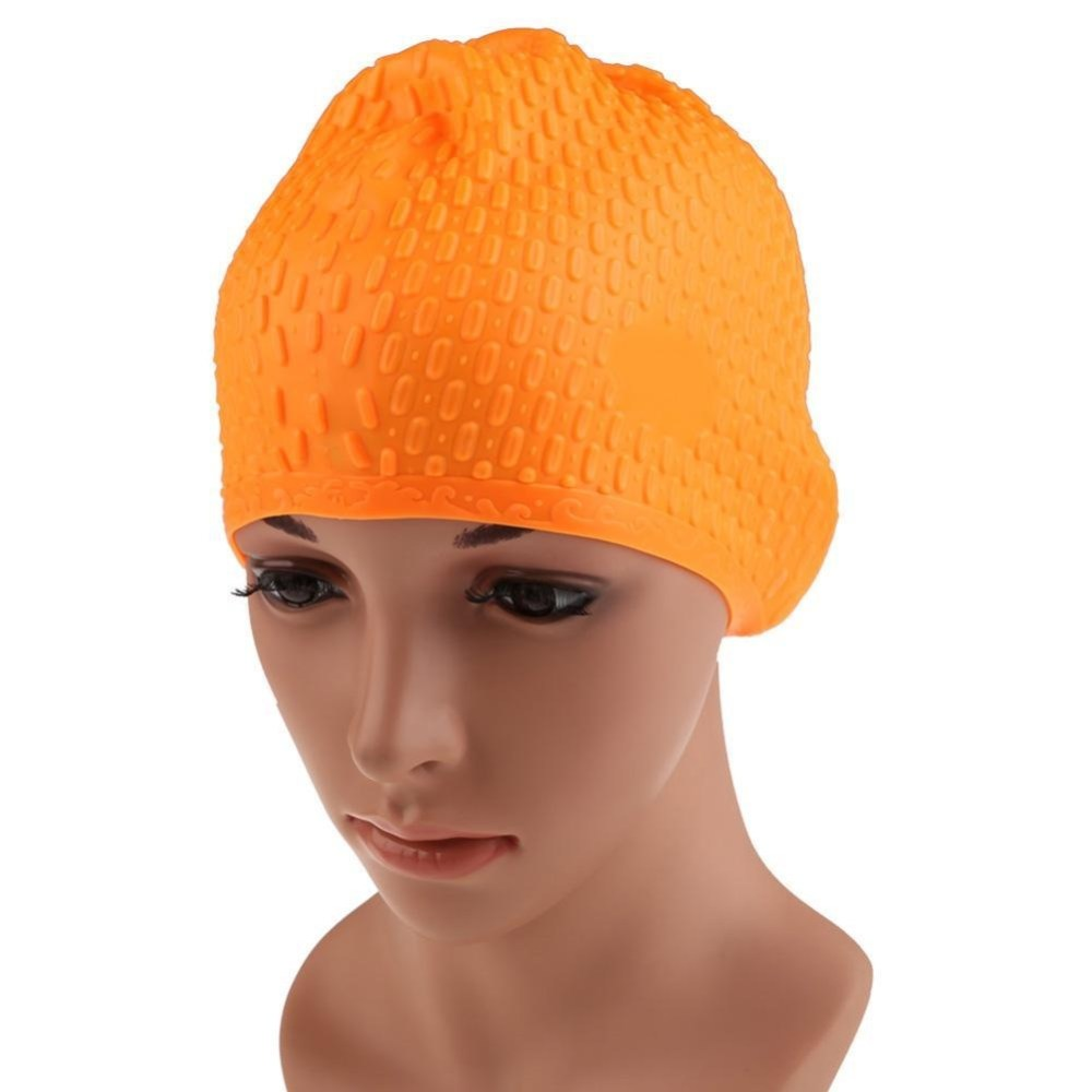 Generic Multicolor Flexible Adult Waterproof Silicon Swimming Cap Unisex Waterdrop Cover Protect Ear 7 Color Swimming Hat(Orange) price in Nigeria