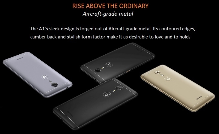 Gionee A1 (4GB, 32GB), Android 7.0 Nougat, 16MP + 13MP   Grey price in nigeria
