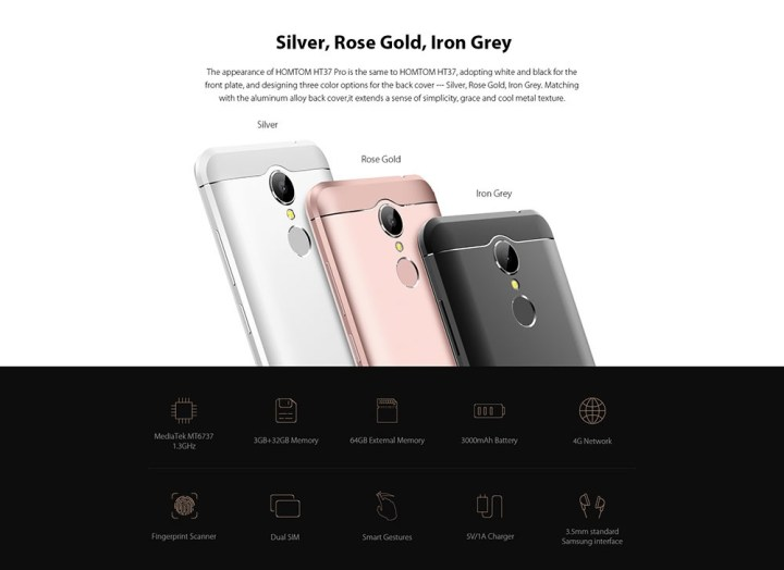 Homtom HT37 PRO Android 7.0 Smartphone 5.0 Inch 3GB RAM + 32GB ROM Fingerprint Scanner Dual Cameras ROSE GOLD price in Nigeria