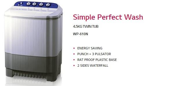 LG Twin Tub Washing Machine WP 610N White price in nigeria
