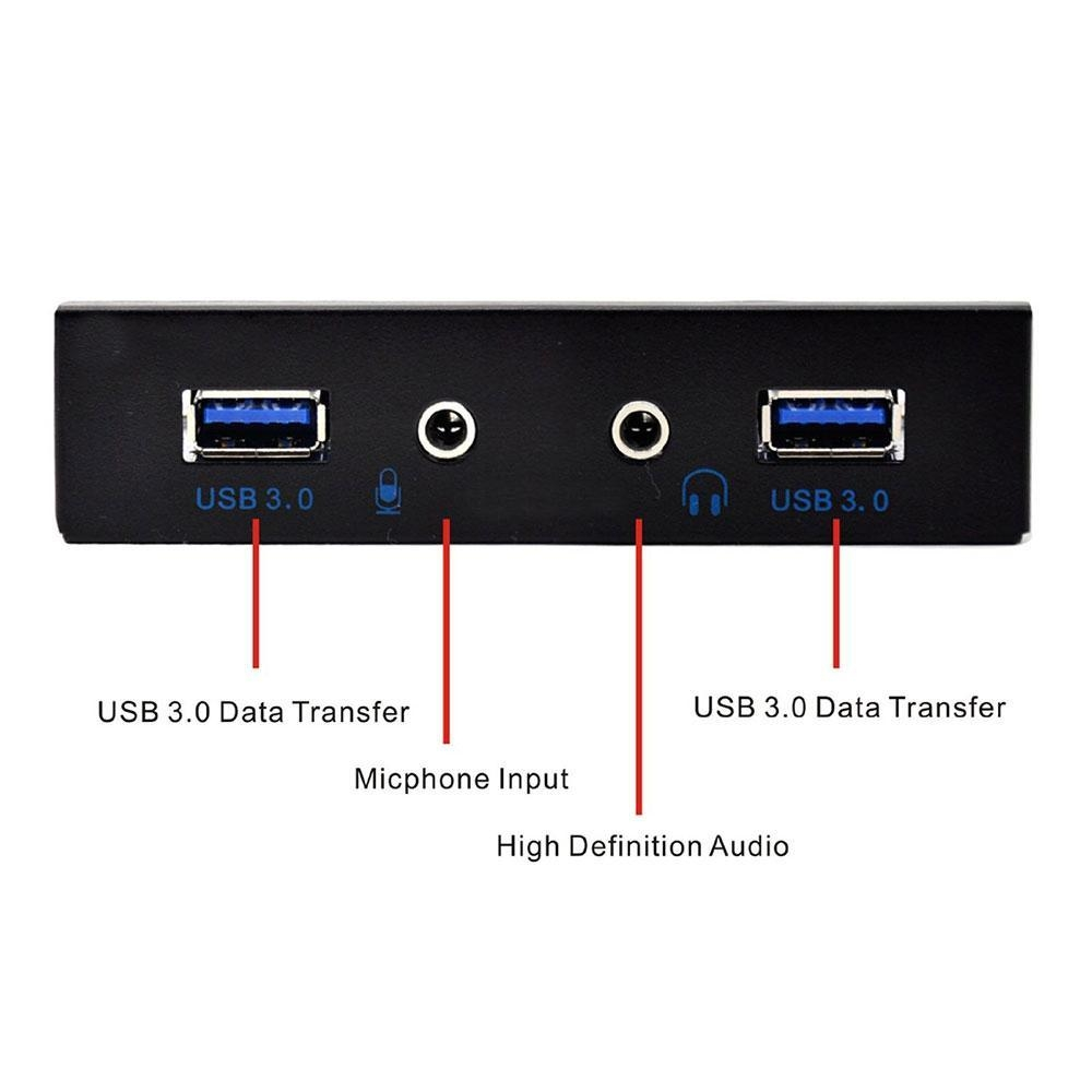 b3af7c3d0afae3e538348c82f5a293ec Louis Will USB 3.0 2 Port 3.5 Inch Metal Front Panel USB Hub With 1 HD Audio Output Port/1 Microphone Input Port For Desktop 20 Pin Connector