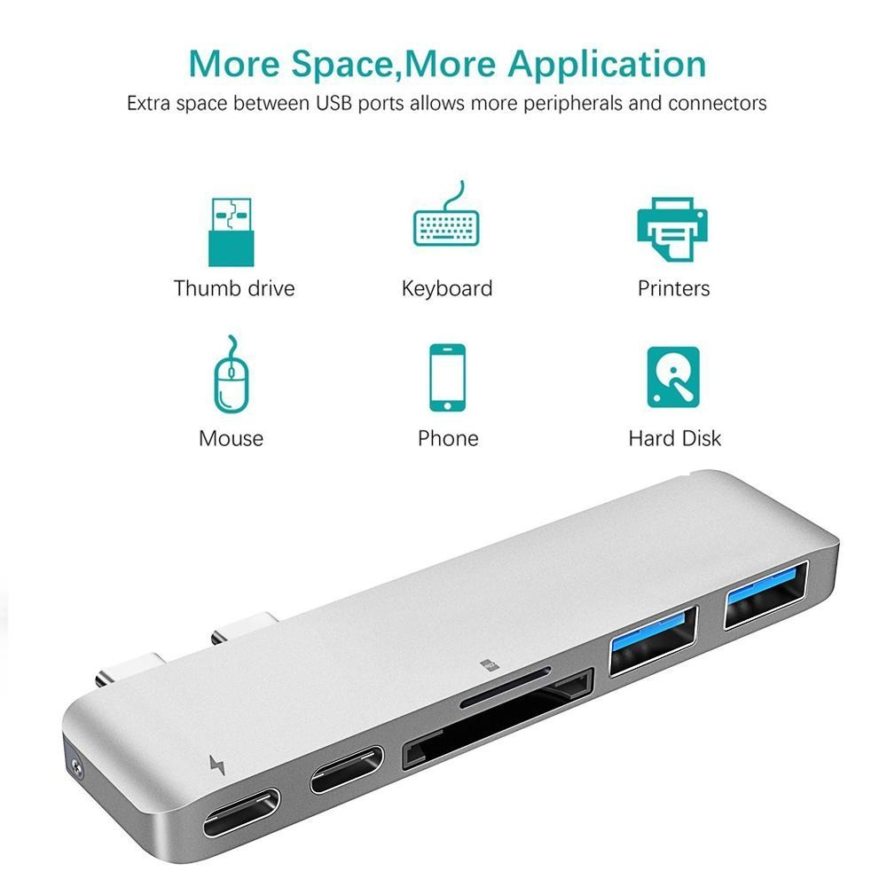 f8a1890250819f4fcd54f5891a059c35 Louis Will USB C Hub,KOBWA 6 In 1 Aluminum Type C Hub Adapter With 50Gbs/s Thunderbolt 3 [email protected],USB C 3.1 Pass through Port,SD/TF Card Reader And 2 USB 3.0 Ports For New 13 Or 15 MacBook Pro 2016/2017(Silver)