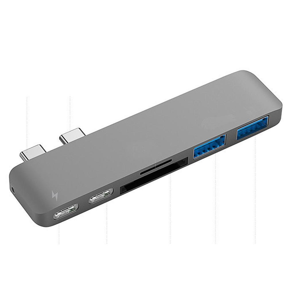 65d496649ef365e952633f4a02c6390c Louis Will 6 In 1 USB C Hub Aluminum Type C Hub Adapter With 50Gbs/s Thunderbolt 3 [email protected],USB C 3.1 Pass through Port,SD/TF Card Reader And 2 USB 3.0 Ports