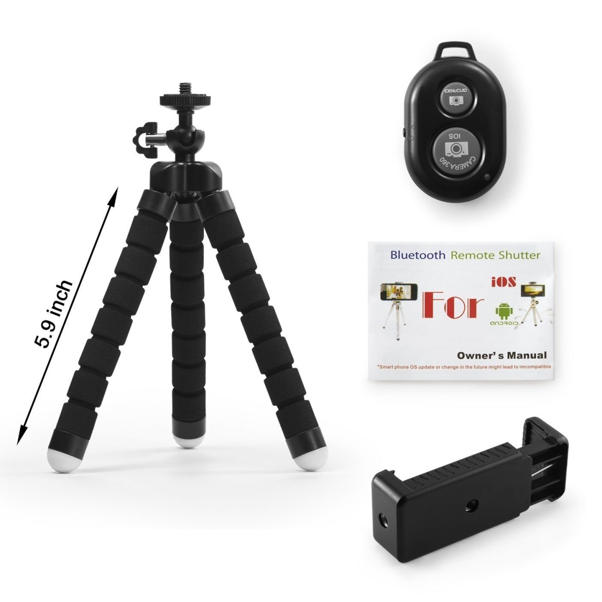 184b4561f6946cf16474a4906adeb91a Octopus Tripod Stand Holder Universal Clip & Remote For Smartphones & Camera   Black