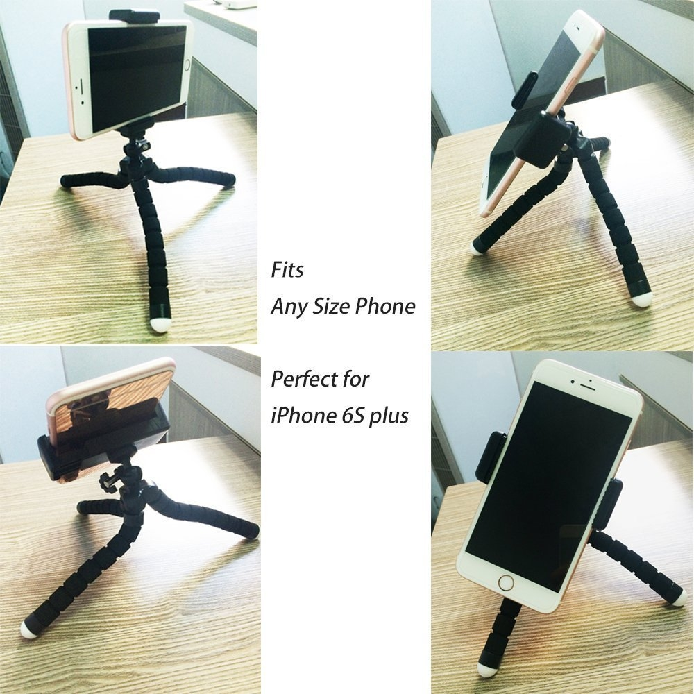 2adc2f43f137d16086b9164c5e475745 Octopus Tripod Stand Holder Universal Clip & Remote For Smartphones & Camera   Black