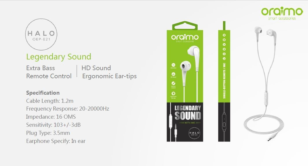 01e9ee05315e9edabe09d712717e849b Oraimo Halo OEP E21 In ear, Bass, HD Sound Ear Phones With Remote & Mic