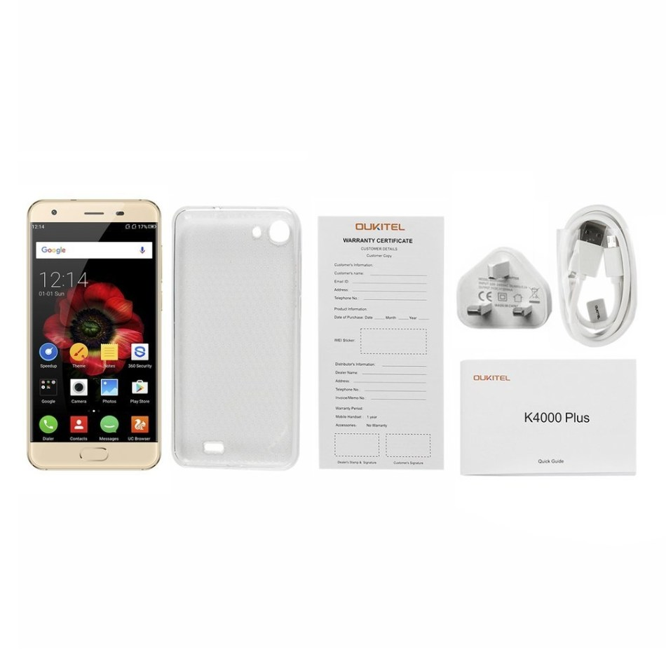 "Oukitel OUKITEL K4000 Plus 5""HD 4100mAh 2GB+16GB Quad-Core 1.3GHz Phone UK Plug - Golden"