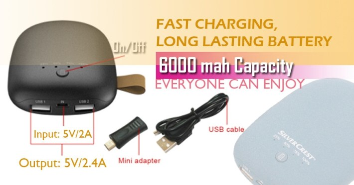 SilverCrest 6000mah Powerbank With A USB Charger Cable And A Micro USB To Mini USB Adapter   Grey price in Nigeria