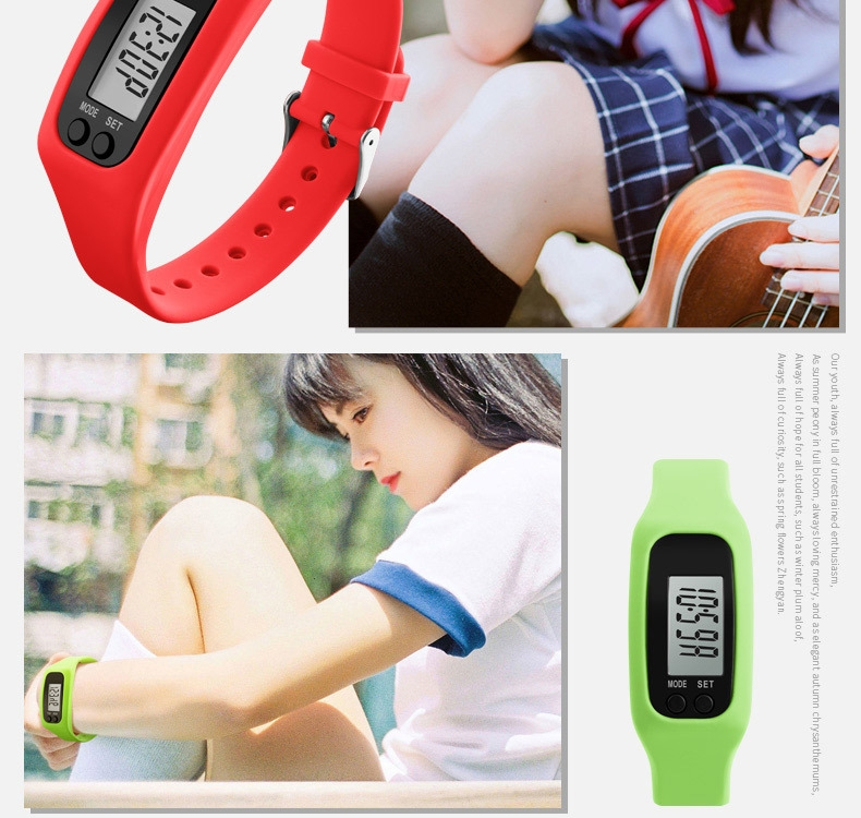 4a3c5de29750f6d312077651394578b9 Skmei Women Fashion Sports Watches Pedometer Calorie Sport Mileage Digital Watch Girl Colorful Silicone Strap Wristwatches (Red
