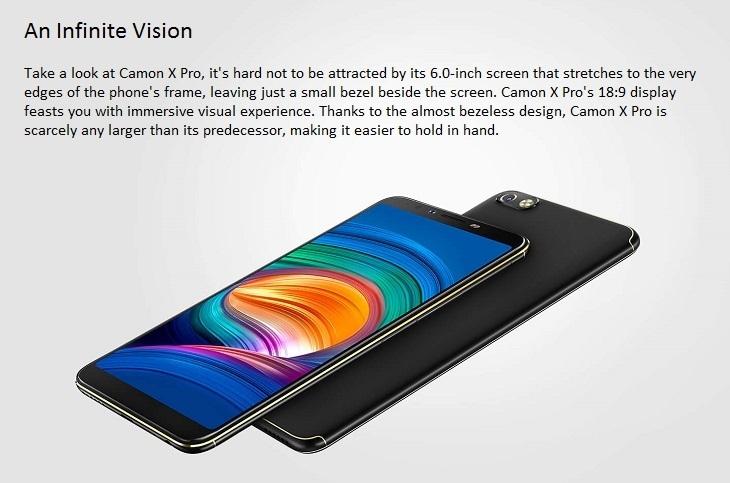 9f24ff980ed4534fc30e33f62eee8f51 Tecno Camon X Pro (CA8) 6 Inch FHD (4GB, 64GB ROM) Android 8.1 Oreo, 16MP + 24MP Dual SIM 4G Fingerprint Smartphone   Midnight Black