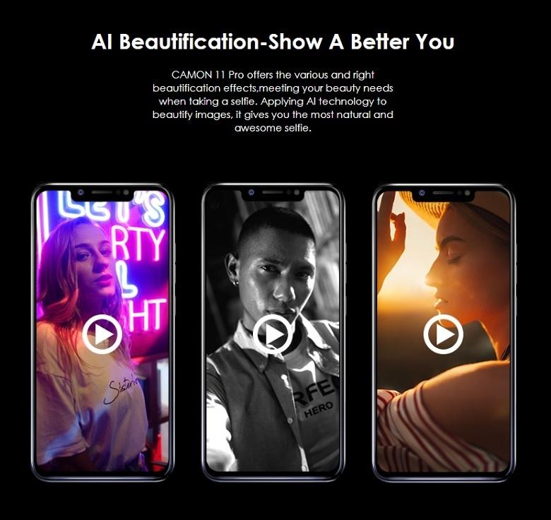 Tecno Camon 11 PRO (CF8) 6 2-Inch Super FULLVIEW (6GB, 64GB ROM) Android  8 1 Oreo, (16MP + 5MP) + 24MP Dual SIM 4G LTE Face ID Smartphone - Nebula