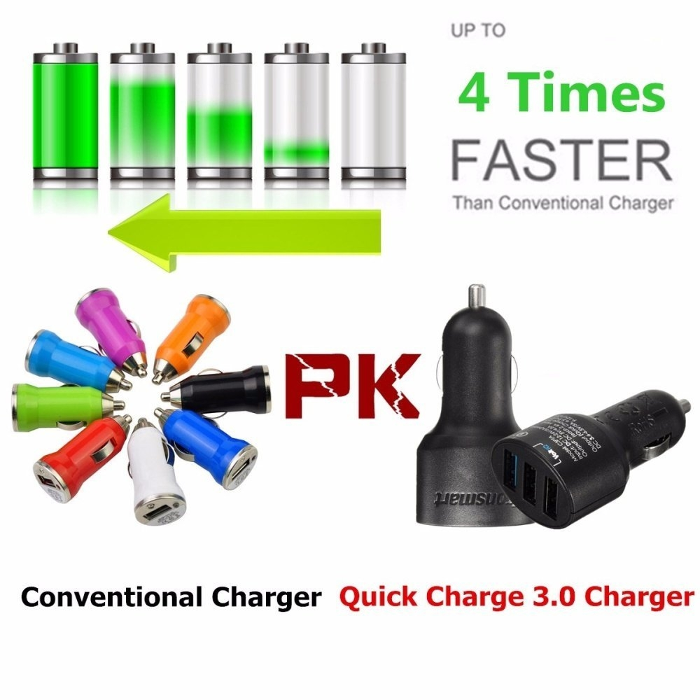 Universal 4.8A Qualcomm 3 USB Quick Charge QC 3.0 Car Fast Charger Rapid Charging Adapterm price in nigeria